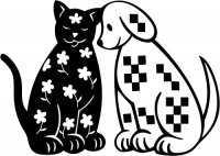 Gingham Dog & Calico Cat