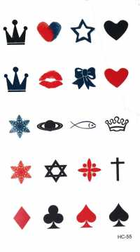 Crown, Heart, Star Temporary Tattoos