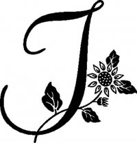 "Floral Illustrated Letter ""I"""