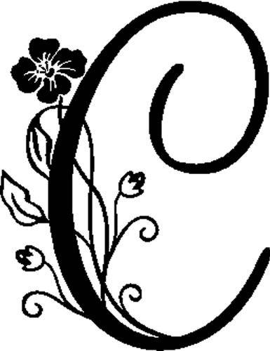 Floral Illustrated Letter C Decals And Stickers The