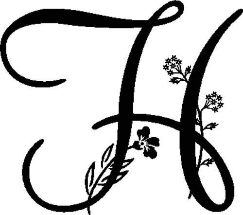 Floral Illustrated Letter H Decals And Stickers The