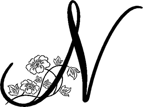 Floral Illustrated Letter N Decals And Stickers The